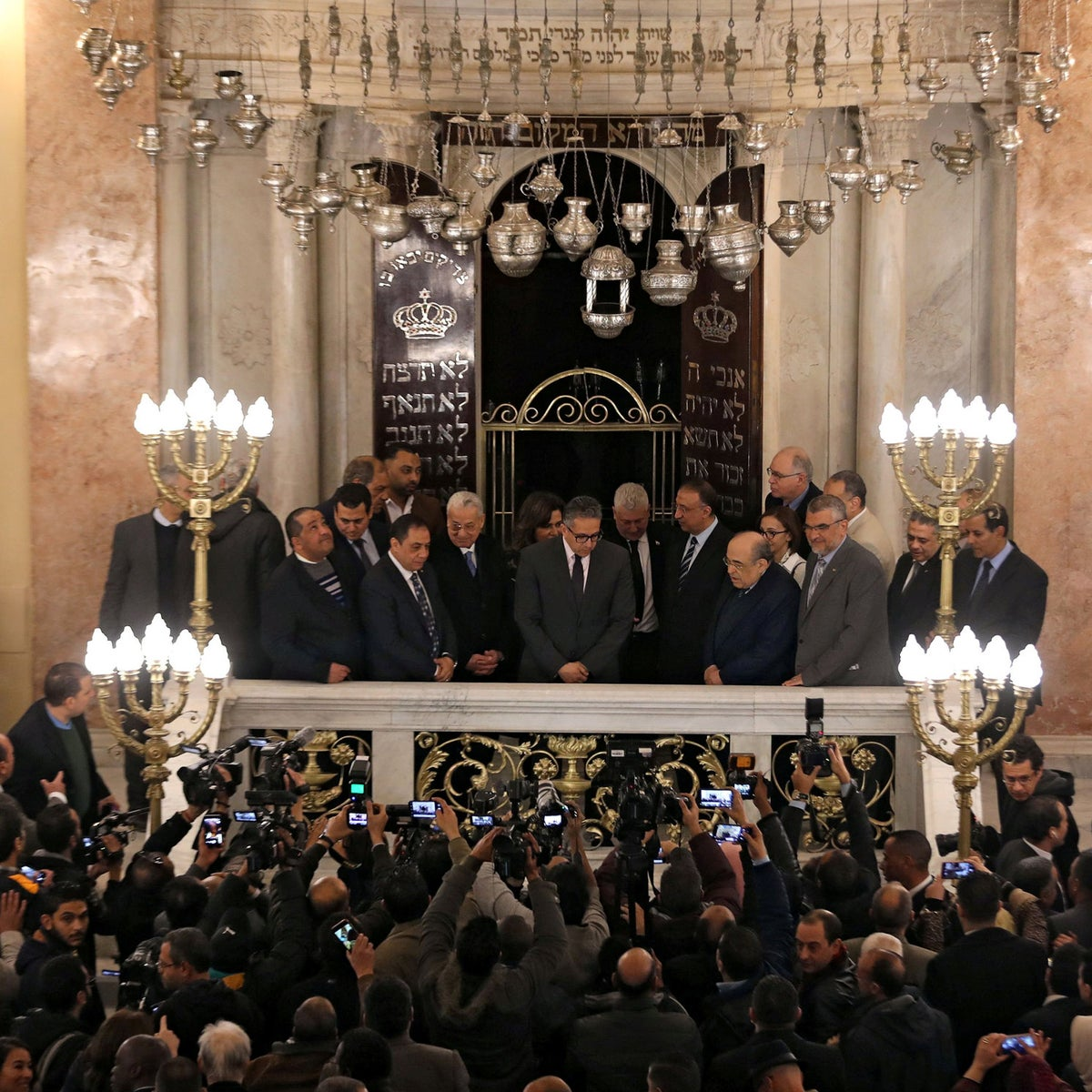 Egypt's Tourism and Antiquities Minister Khaled El-Enany attends the opening of Eliyahu Hanavi Synagogue during its reopening after the completion of a restoration project in Alexandria, Egypt January 10, 2020.