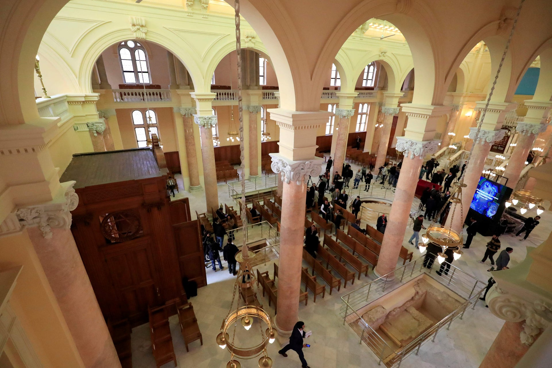 A view from the women's balcony of the Eliyahu Hanavi synagogue in Alexandria, Egypt, January 10, 2020.