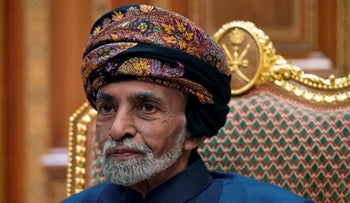 Sultan of Oman Qaboos bin Said sits during a meeting with Secretary of State Mike Pompeo at the Beit Al Baraka Royal Palace in Muscat, Oman, January 14, 2019.