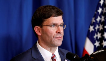 U.S. Defense Secretary Mark Esper speaks about airstrikes by the U.S. military in Iraq and Syria in Palm Beach, Florida, December 29, 2019.