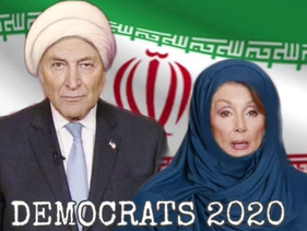 Nancy Pelosi and Chuck Schumer stand in front of the Iranian flag in a photoshopped image.