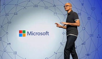 Microsoft CEO Satya Nadella delivers the keynote address at Build, the company's annual conference for software developers, in Seattle, on Monday, May 7, 2018.