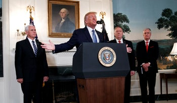 Vice President Pence, President Trump, Secretary Pompeo and National Security Adviser O'Brein at the White House, October 23, 2019.