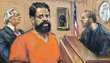 A courtroom sketch of Thomas at his arraignment, White Plains, New York, January 13, 2020.