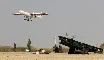 Iranian forces launching an Iranian made drone, Bandar Jask, southern Iran; December picture made available on Dec 25, 2014 by Iranian Jamejam newspaper's website