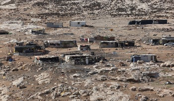 A Bedouin village in Nahal Og in the West Bank, where Bennett announced a new nature reserve would be built.