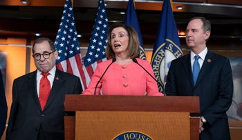 Speaker of the House Nancy Pelosi, Rep. Jerrold Nadler and House Intelligence Committee Chairman Adam Schiff speak during a news conference at the Capitol in Washington, January 15, 2020.