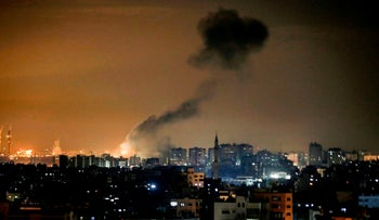 Smoke rises following an Israeli airstrike on Gaza City on January 15, 2020.