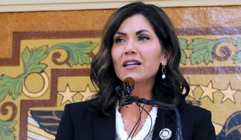 In this Jan. 2019 file photo, South Dakota Gov. Kristi Noem speaks in Pierre, S.D. Noem said in a statement Thursday, Oct. 24, 2019