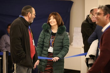 Larissa Trimbobler-Amir filing her new political party, Mishpat Tzedek, with the Central Elections Committee in Jerusalem, January 14, 2020.