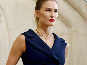 Top model Bar Refaeli poses for photographers upon arrival at the Dior ready to wear Fall-Winter 2019-2020 collection, that was presented in Paris, Tuesday, Feb. 26, 2019.