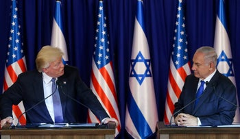 Trump and Netanyahu give a joint press conference in 2017.