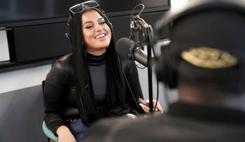 Amani Al-Khatahtbeh records a podcast pilot at Spotify's headquarters in New York, December 19, 2019.