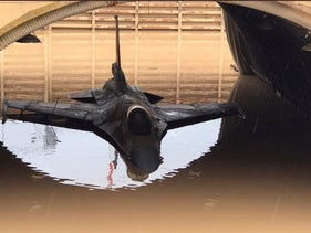 An IDF fighter jet damaged due to heavy rainfall that flooded an army base in southern Israel.