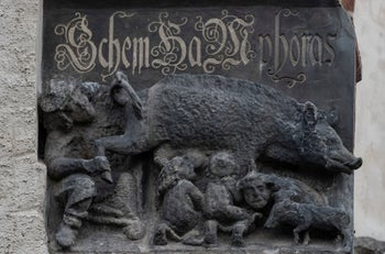 "The so-called ""Judensau,"" or ""Jew pig,"" sculpture is displayed on the facade of the Stadtkirche (Town Church) in Wittenberg, Germany, on January 14, 2020."