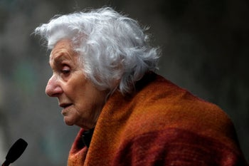 Holocaust survivor Eva Fahidi attends the commemoration of the liberation of the Budapest ghetto by the Red Army, 75 years ago in Budapest, Hungary, January 17, 2020.