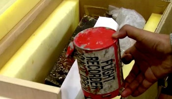 A flight recorder purportedly recovered from the crashed Ukrainian airliner is seen in this still image taken from a video, in Tehran, Iran January 10, 2020.