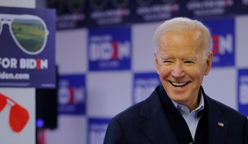 Joe Biden visits volunteers phone-banking at his south side campaign office in Des Moines, Iowa, January 13, 2020.