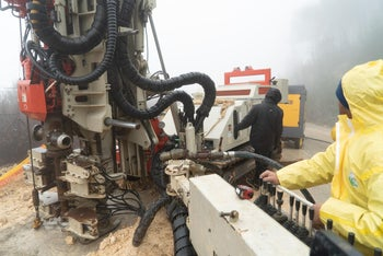 Machinery used to lay tunnel-detecting equipment at the Israel-Lebanon border.