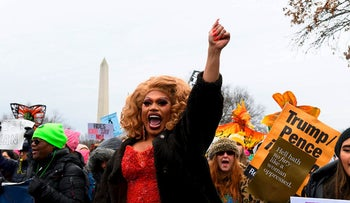 Demonstrators march during the 4th annual Women's March in Washington, DC, on January 18, 2020