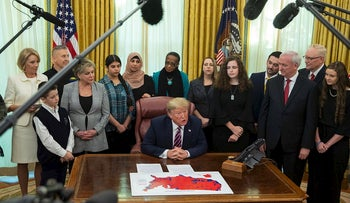 President Donald Trump speaks during an event on prayer in public schools, in the Oval Office of the White House, Thursday, Jan. 16, 2020, in Washington