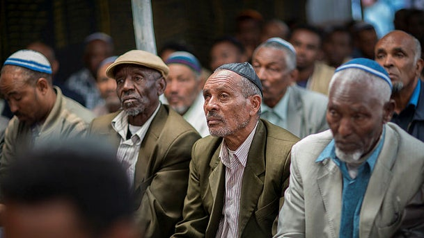 Members of Ethiopia's Jewish community at the synagogue in Addis Ababa, Ethiopia, November 19, 2018.