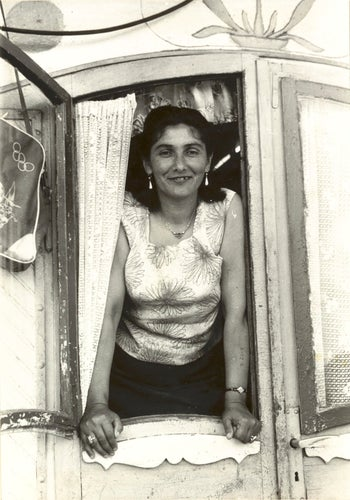 Margarete Kraus, a Czech Roma, photographed after the war by Reimar Gilsenbach. Her Auschwitz tattoo is visible on her left arm