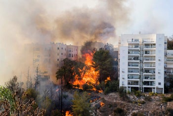 A bushfire raging in the northern Israeli port city of Haifa, Israel, November 24, 2016