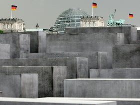 The Memorial to the Murdered Jews of Europe, Germany's national Holocaust memorial,in front of the Reichstag, Berlin