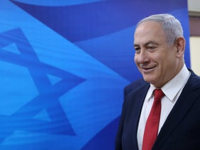 Netanyahu ahead of the weekly government meeting in Jerusalem, January 12, 2020