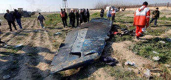 Debris of the Ukraine International Airlines flight that crashed after take-off from Iran, on the outskirts of Tehran, Iran January 8, 2020.