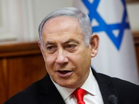 Netanyahu attends the weekly cabinet meeting at his office in Jerusalem January 19, 2020.