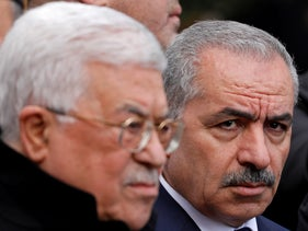 Palestinian Prime Minister Mohammad Shtayyeh and President Mahmoud Abbas in Ramallah, December 4, 2019.