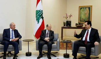 Designated Prime Minister Hassan Diab meets with Lebanon's President Michel Aoun and Lebanese Speaker of the Parliament Nabih Berri at the presidential palace in Baabda, Lebanon Janaury 21, 2020.