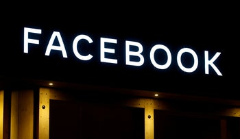 Facebook logo on a showroom being used to hold events for the giant social media company at Davos, Switzerland. January 20, 2020