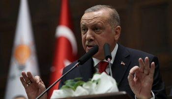 Recep Tayyip Erdogan makes a speech during his party's group meeting at Grand National Assembly of Turkey in Ankara, on January 14, 2020.