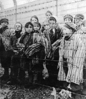 Palo Shelah, purportedly pictured front right, after the liberation of Auschwitz on January 27, 1945.
