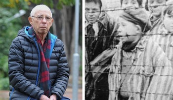 Palo Shelah, now 81, outside his home in Kibbutz Gan Shmuel in Israel, and right, purportedly as the 6-year-old boy in Auschwitz.