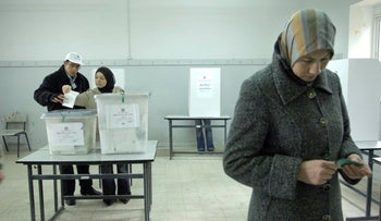 Palestinians cast their vote at a polling station in the West Bank during the last Palestinian election in 2006