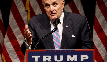 Rudy Giuliani delivers remarks before Donald Trump rallies with supporters in Council Bluffs, Iowa, U.S., September 28, 2016