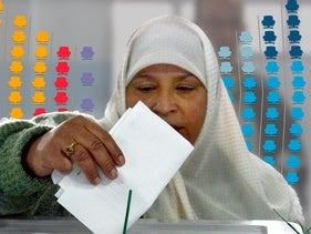 Palestinians vote with info-graphic of Knesset