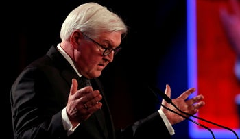 German President Frank-Walter Steinmeier speaks at the World Holocaust Forum marking 75 years since the liberation of Auschwitz
