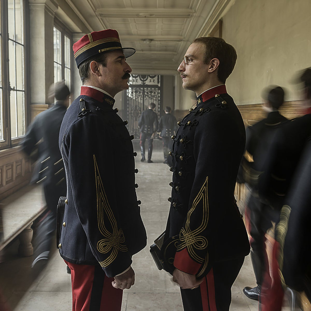 """Jean Dujardin (as Picquart) and Louis Garrel (Dreyfus) in a still from """"An Officer and a Spy."""""""