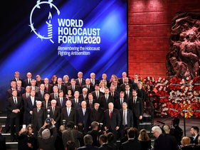 World leaders pose for a family photo during the World Holocaust Forum in Jerusalem, January 23.