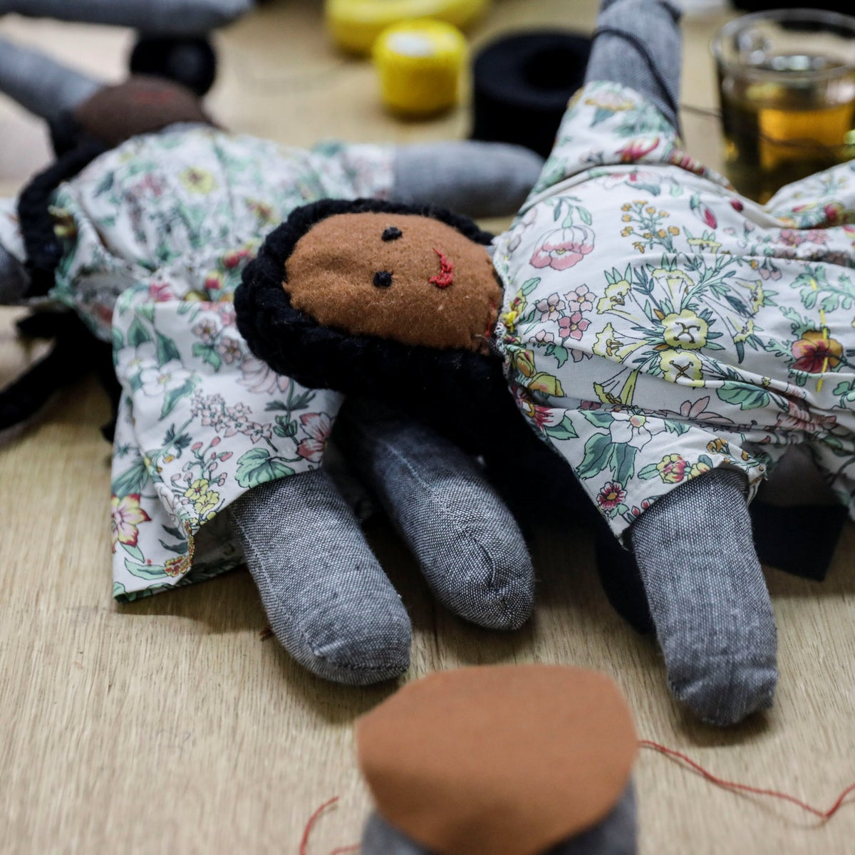 Dolls made by asylum seekers through the Kuchinate project.