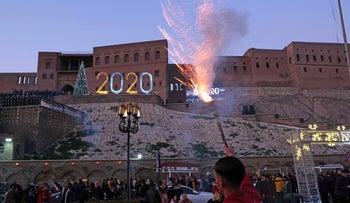 The citadel of Erbil, the capital of the autonomous Kurdish region of northern Iraq, during New Year's eve celebrations, December 31, 2019