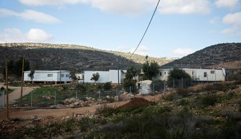 Prefabricated structures at the Jewish settlement of Rehelim in the northern West Bank, January 7, 2019.