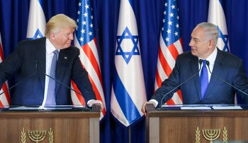 U.S. President Donald Trump and Israeli Prime Minister Benjamin Netanyahu at a joint press conference during Trump's visit to Israel. 22 May 2017