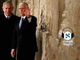 U.S Vice President Mike Pence, right, and Prime Minister Benjamin Netanyahu during a visit to the Western Wall in Jerusalem's Old City on January 23, 2020.