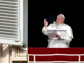 Pope Francis addresses attendees from the window of the Apostolic palace during the weekly Angelus prayer on January 26, 2020 at St. Peter's Square in the Vatican